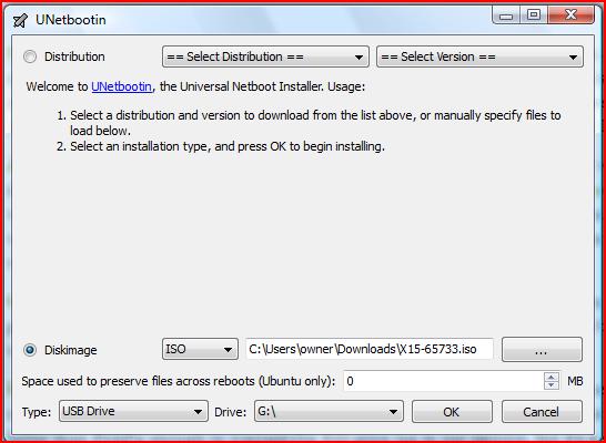UNetbootlin Screen
